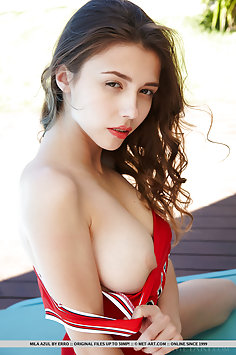 Busty brunette Mila Azul in red and white football bodysuit