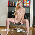 Swedish blonde in white lace lingerie reveals shaved pussy - image 2