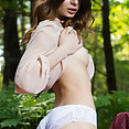 Skinny brunette undressing and revealing shaved pussy in the woods - image 2