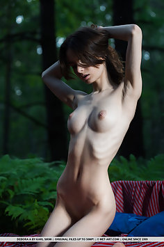 Skinny brunette undressing and revealing shaved pussy in the woods