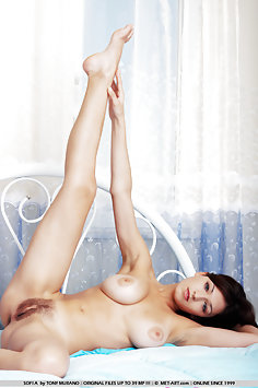 Spiritual young girl who has dark hair and large breasts is so comfortable and so beautiful too